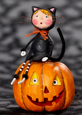 Lori Mitchell Cat & Jack Pumpkin Figurine