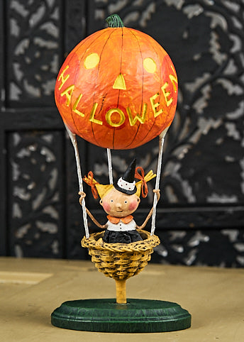 Lori Mitchell Halloween Heights Figurine - Girl in Pumpkin Hot Air Balloon