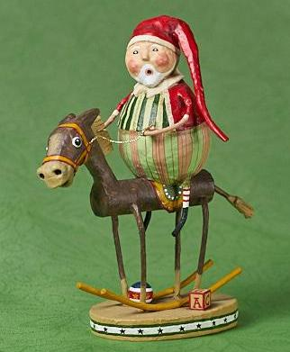 Lori Mitchell Muletide Santa on Rocking Horse