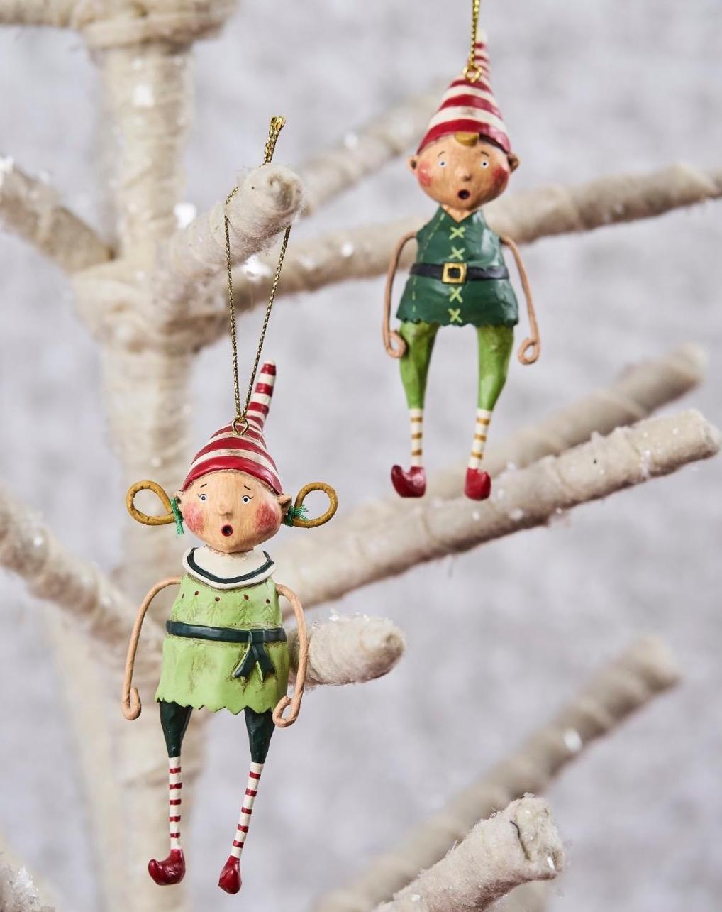 Lori Mitchell Tootsie and Tinker Elf Ornaments