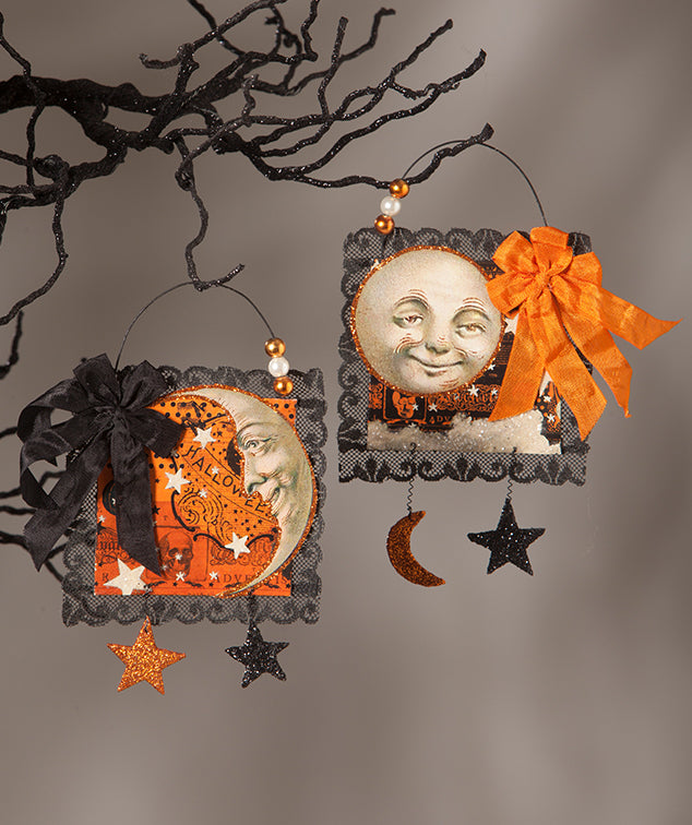 Magic Moonlight Postcard Ornaments with Vintage Halloween Moon