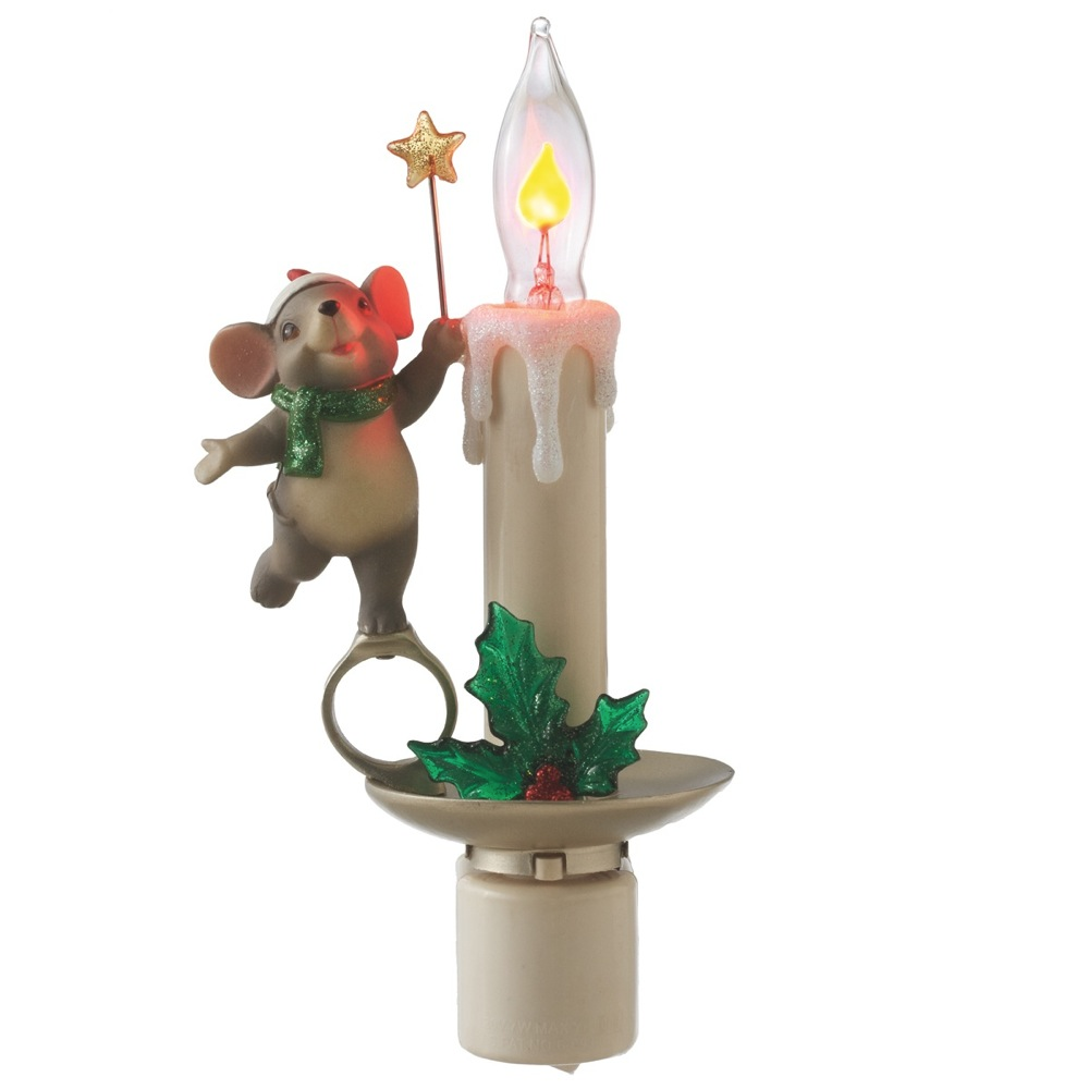 Magical Christmas Mouse with Flickering Candle Night Light