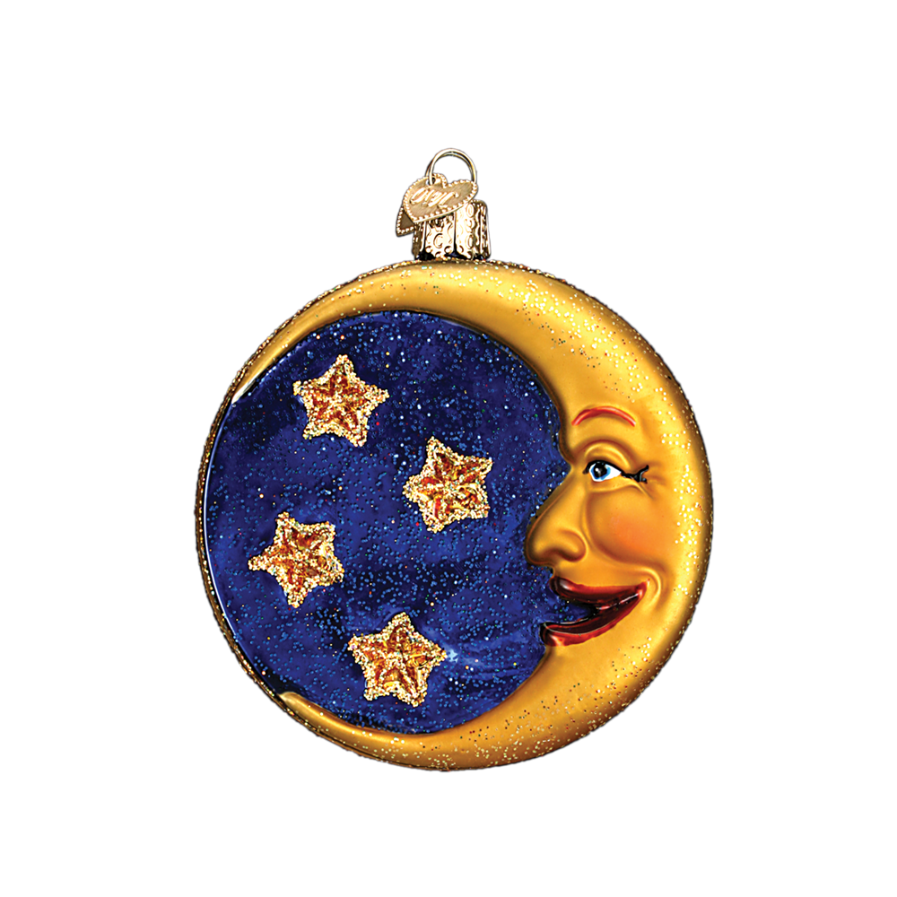 Man in the Moon & Stars Glass Ornament