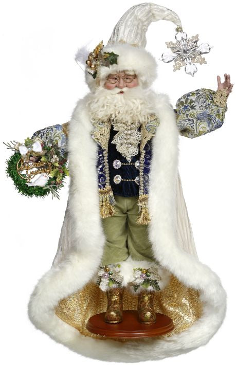 Mark Roberts Christmas Greeting Santa - White, Blue, Green, and Gold