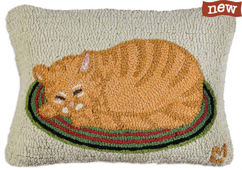 Marmalade Cat Hooked Pillow