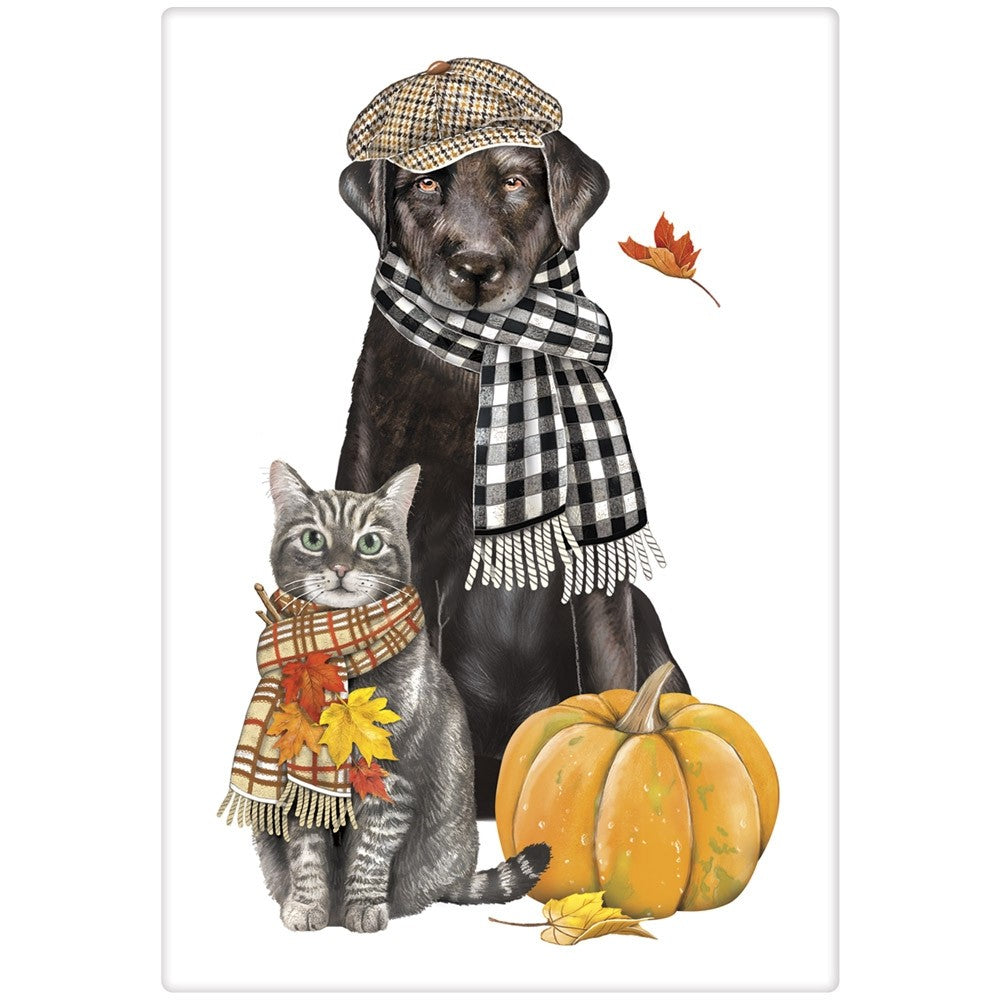 Dapper Fall Dog & Cat Towel by Mary Lake-Thompson
