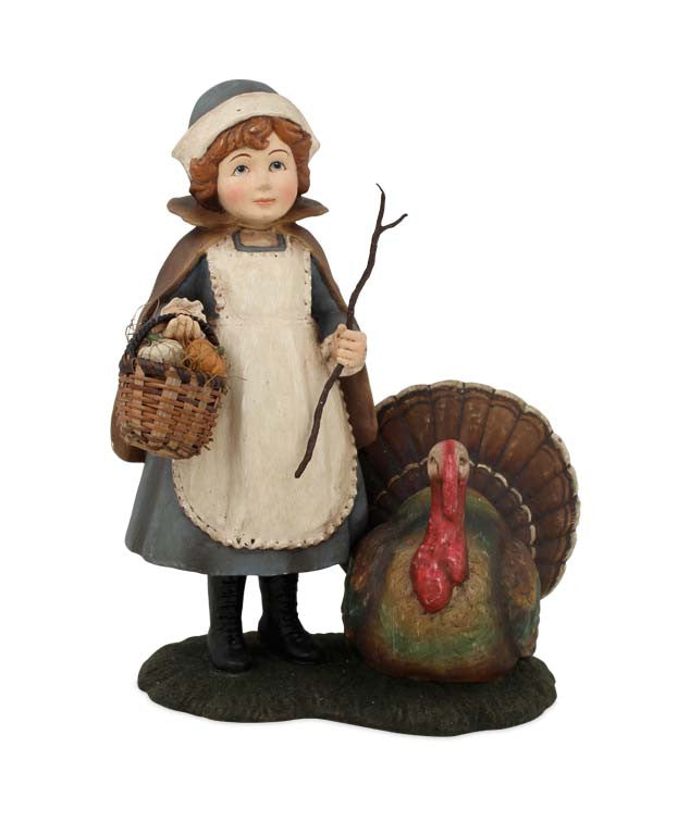 Mazy with Turkey Figurine - Bethany Lowe Thanksgiving