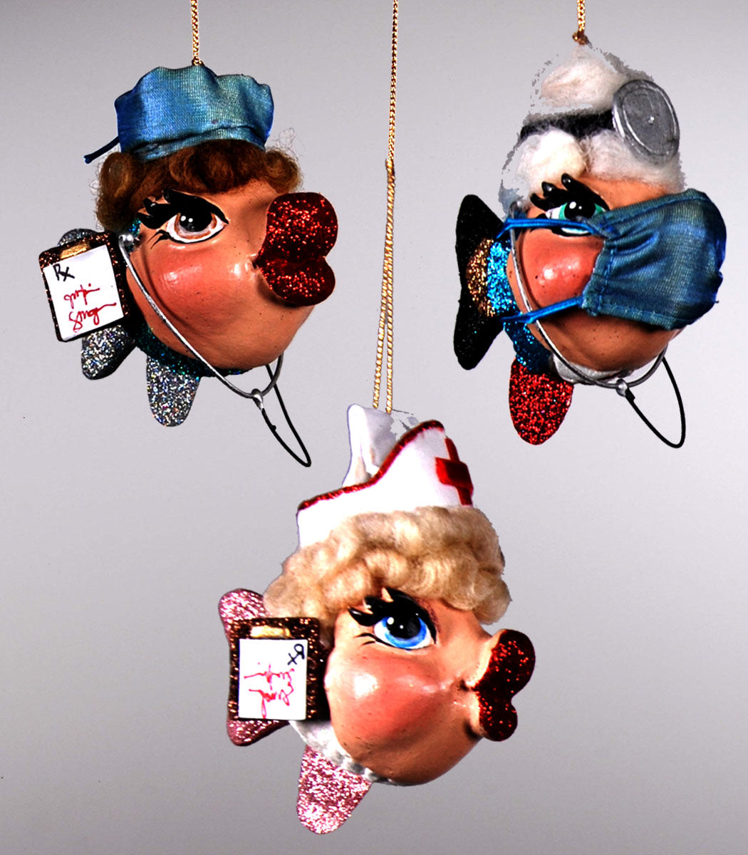 Medical Kissing Fish Ornaments - Nurse Doctor Hospital Christmas Tree