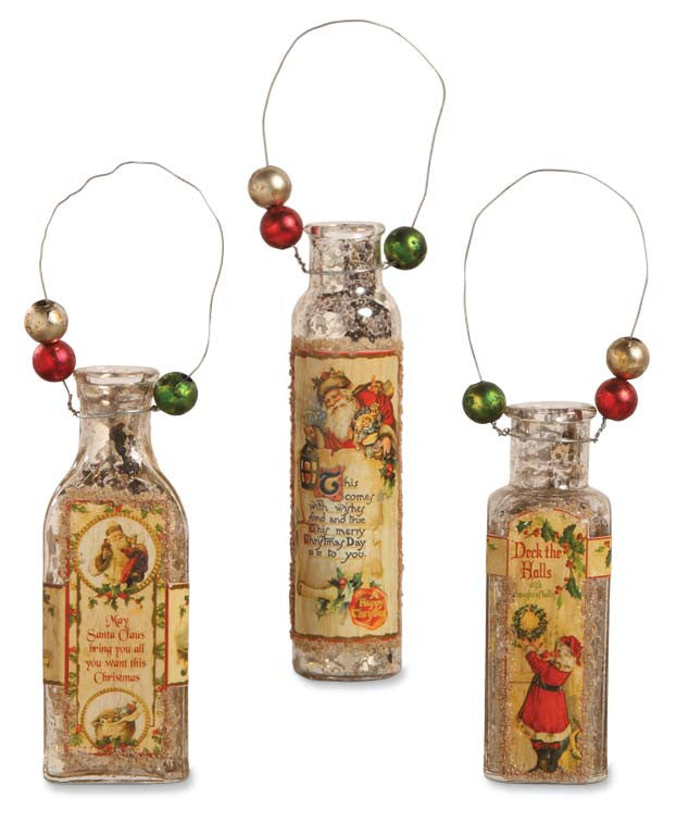 Mercury Glass Bottle Ornaments - Bethany Lowe Christmas