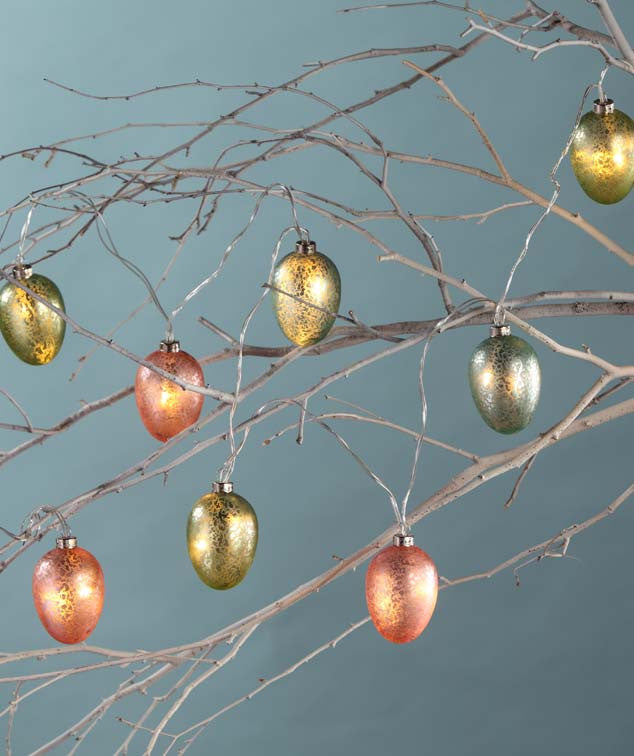 Mercury Glass Egg Garland with LED Lights