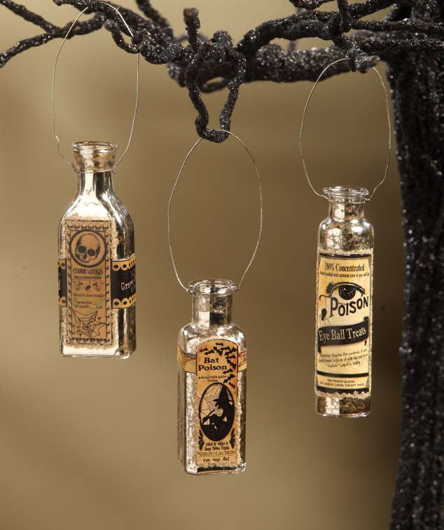 Mercury Glass Potion Bottle Halloween Ornaments