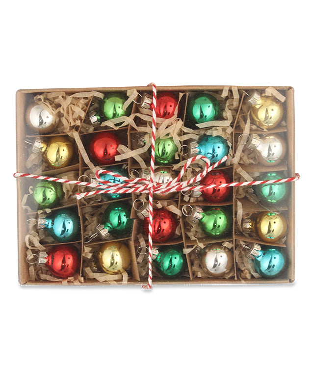 Merry & Bright Box of Mini Ball Ornaments, Red, Green, Blue, Silver, Gold