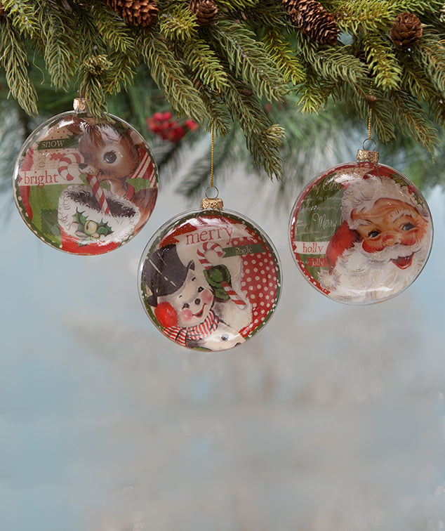 Retro Christmas Disc Ornaments