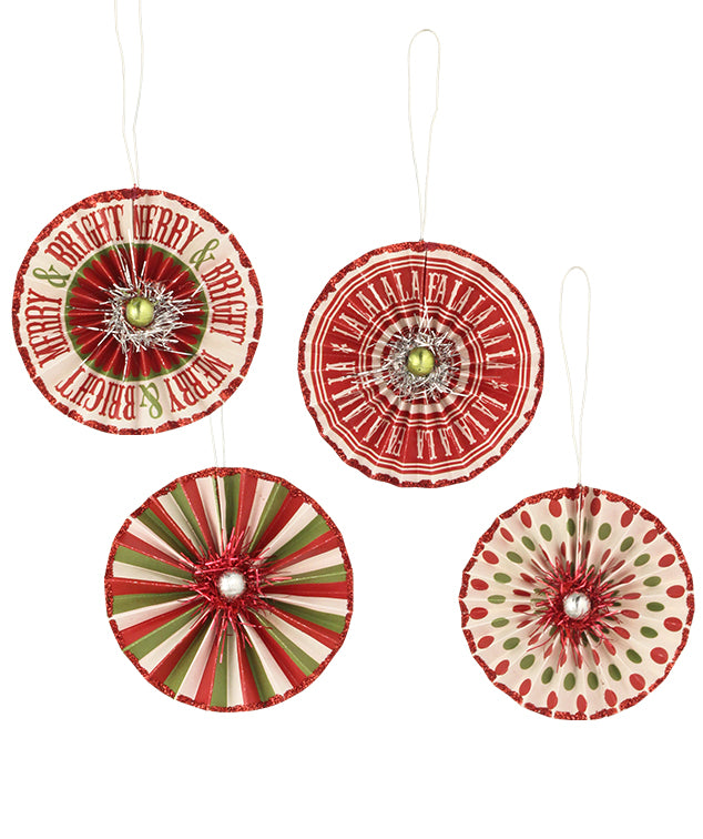 Merry & Bright Rosette Ornaments