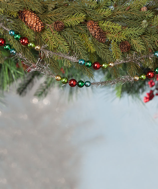 Merry & Bright Tinsel & Bead Garland, Red, Green, Blue Beads