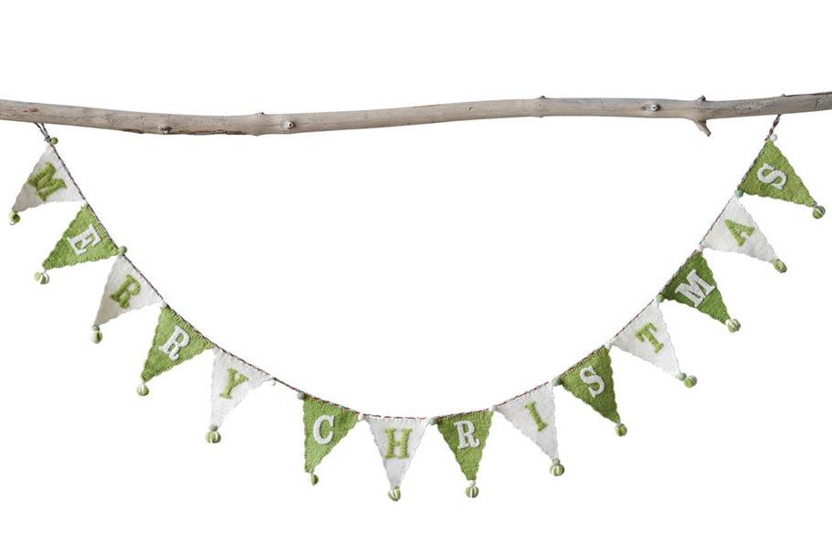 Felt Merry Christmas Banner, Green and White
