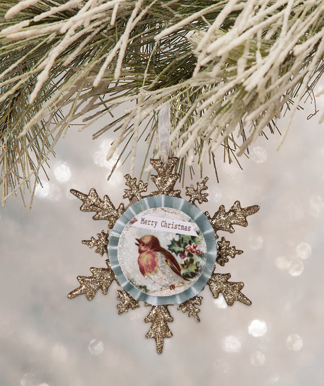 Merry Little Bird Snowflake Ornament - Bethany Lowe Christmas 2018