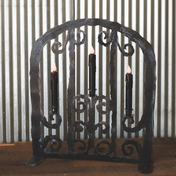 Metal Halloween Gate with Candles
