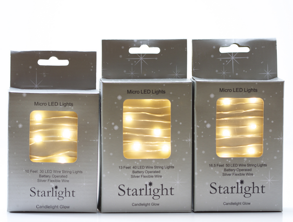 Micro LED Lights Battery Operated Lights on Silver Wire - TheHolidayBarn.com