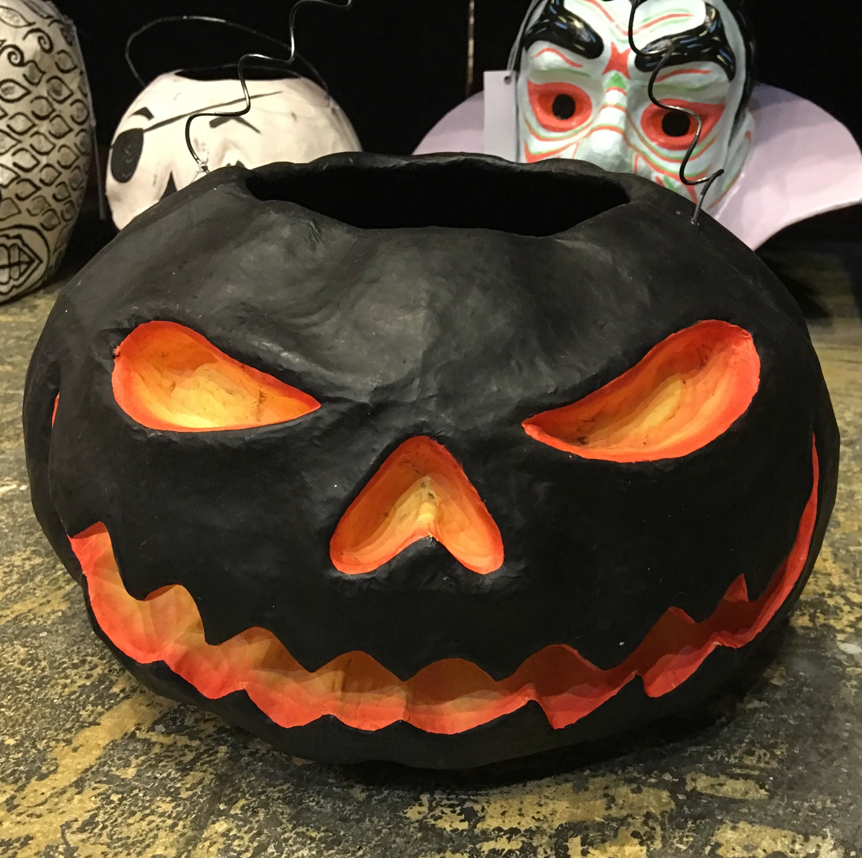 Midnight Jack-O-Lantern Bucket - Paper Mache