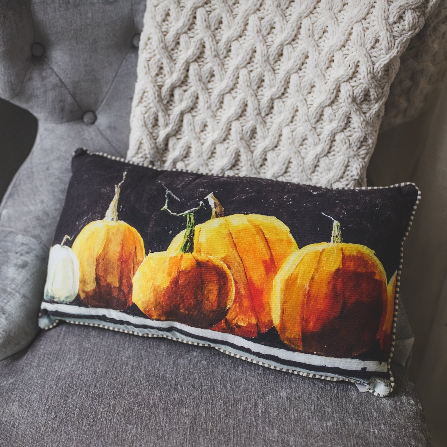 Midnight Pumpkin Magic Pillow with Black Background
