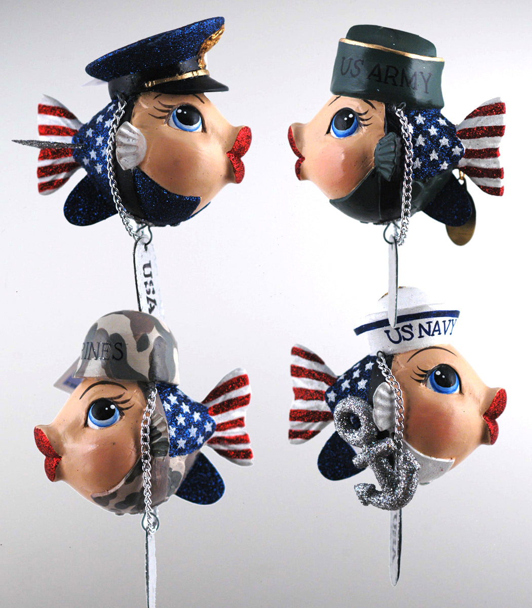 Military Kissing Fish Ornaments