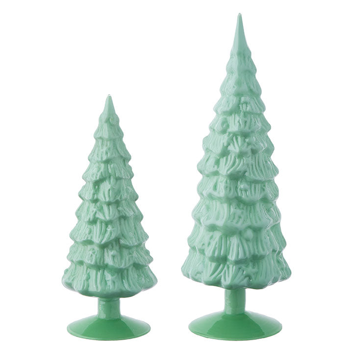 Green Milk Glass Christmas Trees