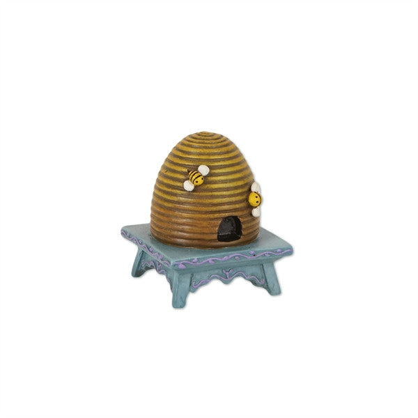 Mini Beehive on Stool for Fairy Garden