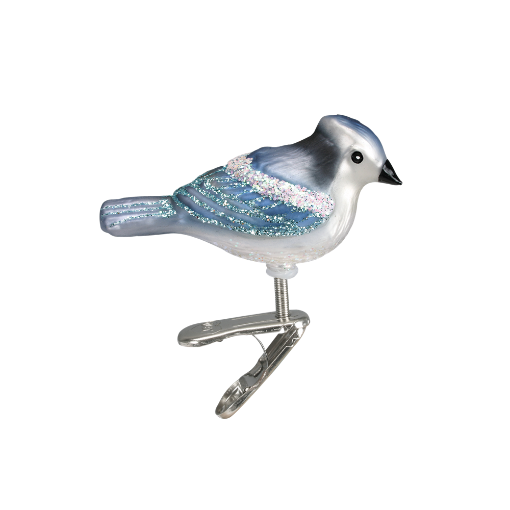 Small Blue Bird Glass Ornament Clip