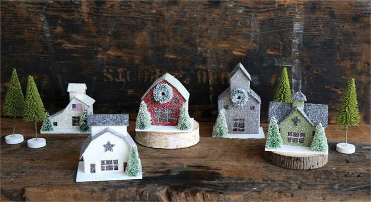 Country Christmas Mini Village with Barns