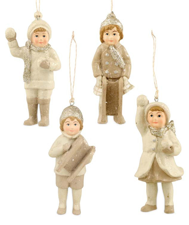 Mini Platinum & Ivory Snow Children Ornaments by Bethany Lowe