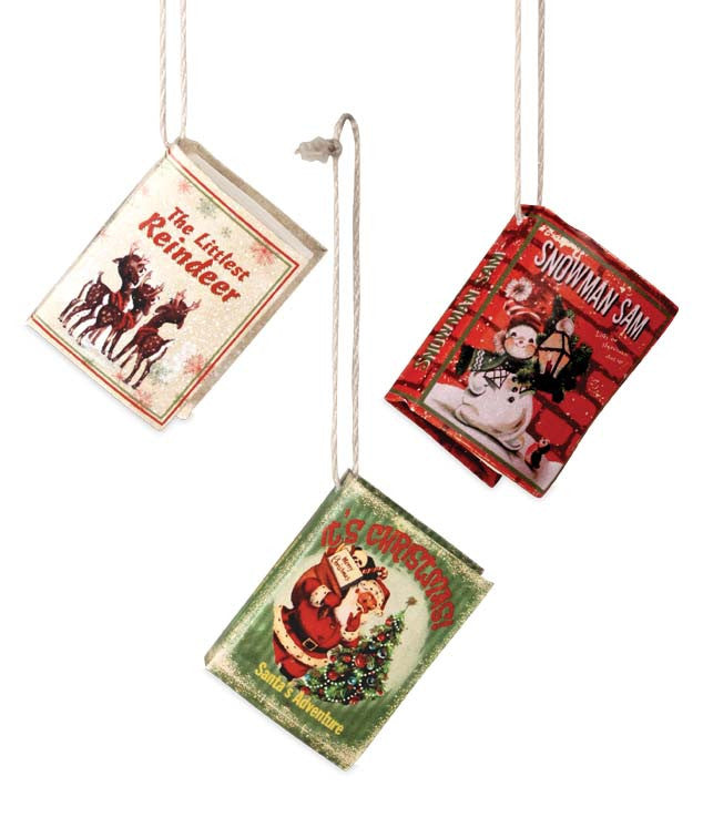 mini retro christmas book ornaments decorations