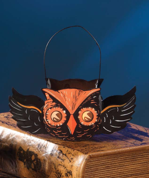 Bethany Lowe Tin Flying Owl Bucket Ornament