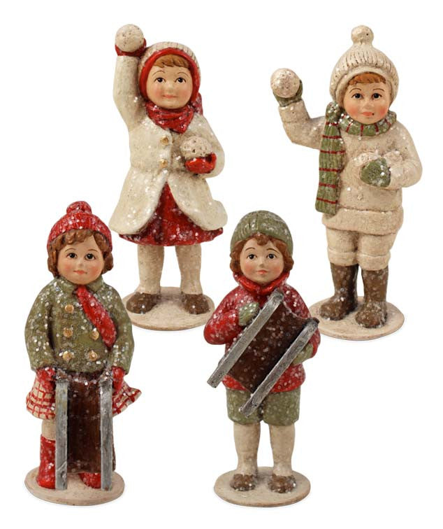Mini Winter Children Figurines - Bethany Lowe Christmas