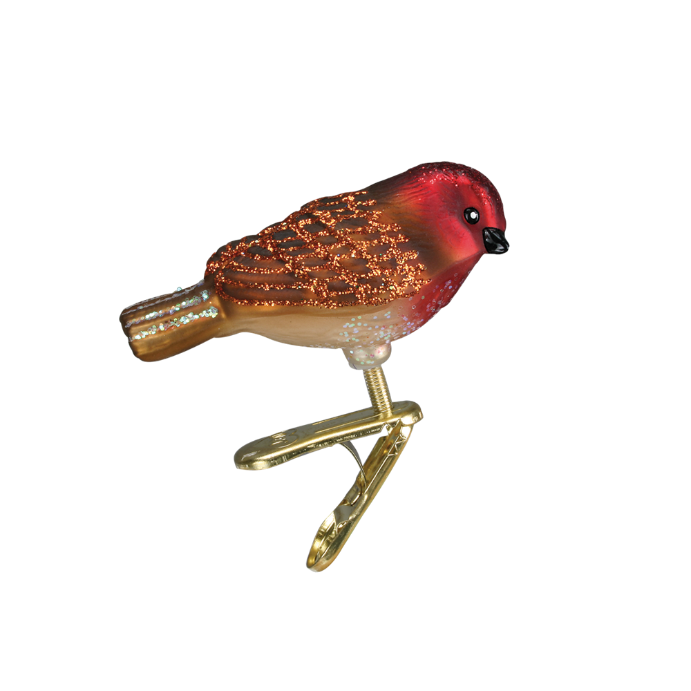 Small Red & Ornament Glass Bird Clip