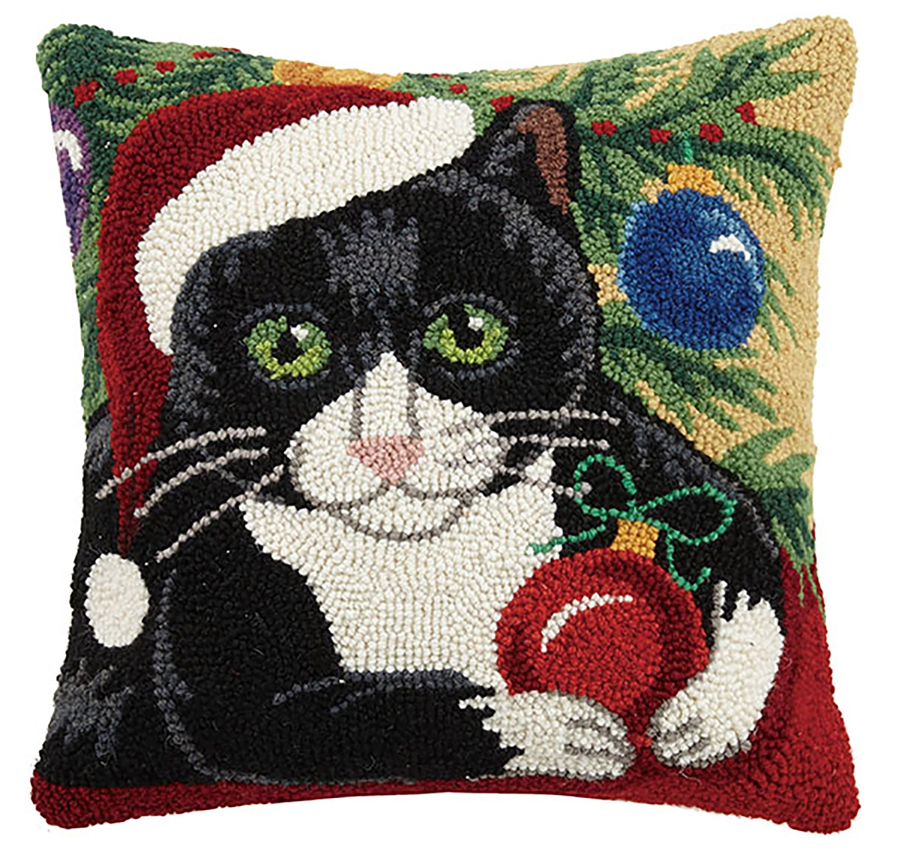 Mischievous Christmas Kitty Hooked Pillow
