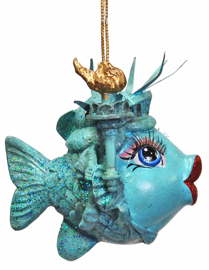 miss statue of liberty kissing fish ornament by katherines collection - Fish Christmas Ornaments