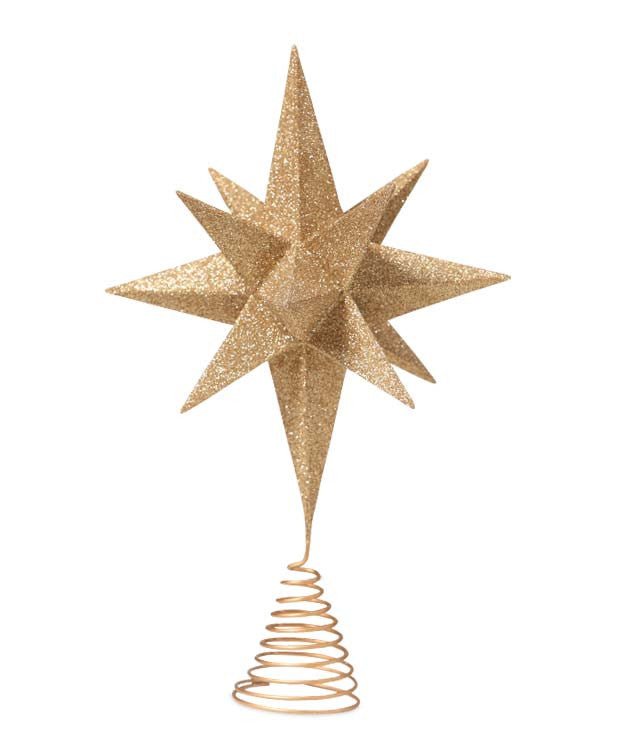 Moravian Star Tree Topper with Gold Glitter