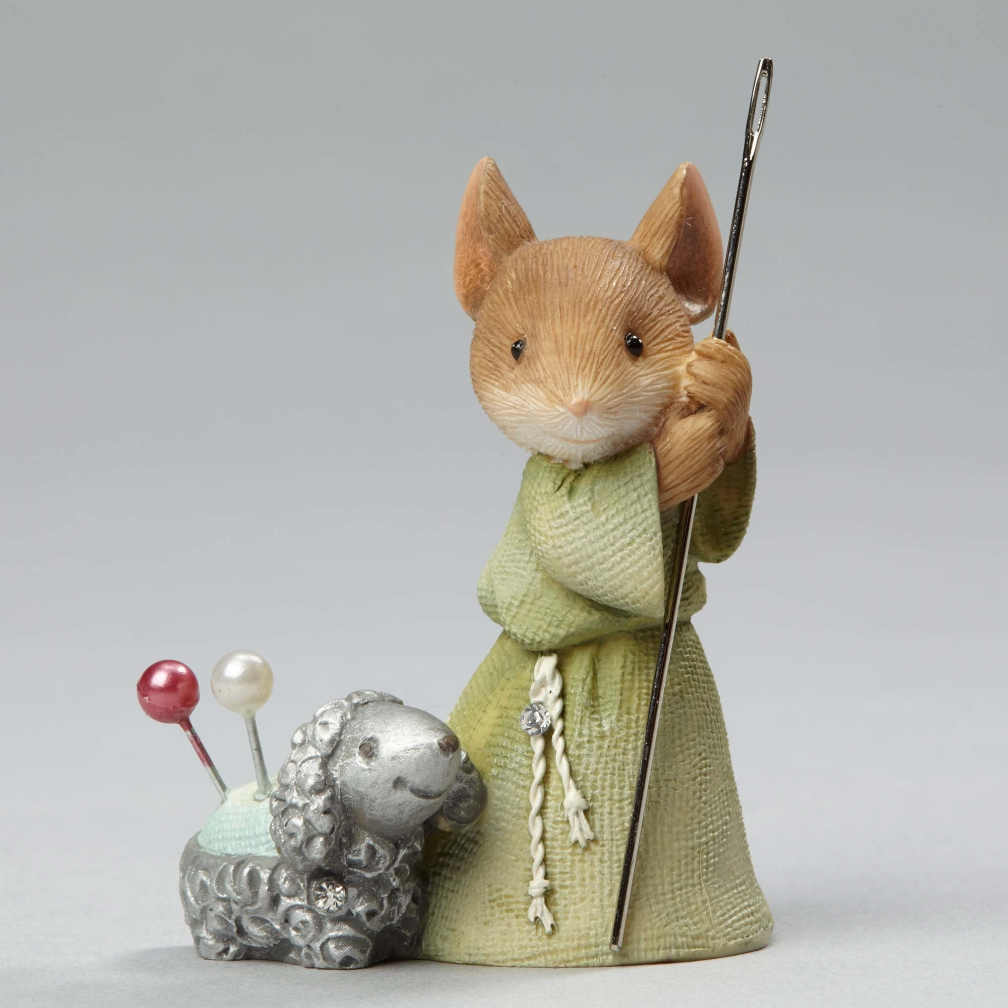 Shepherd Mouse with Lamb Nativity Pageant Figurine