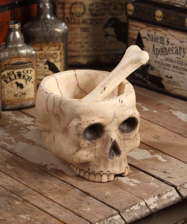 Mr. Bones Skull Mortar & Pestle made from paper mache