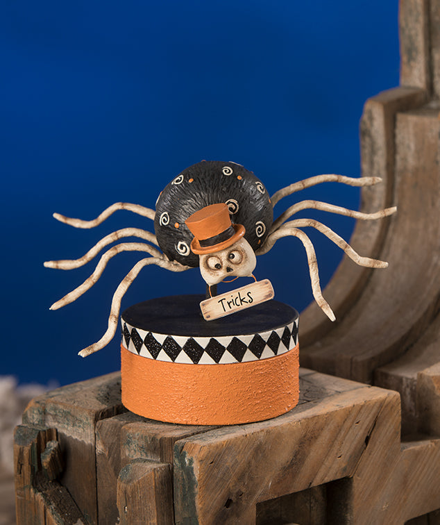 Mr. Bones Spider on Box by Bethany Lowe