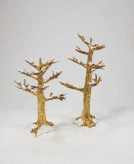 Frosted Trees Set of 2 Gold