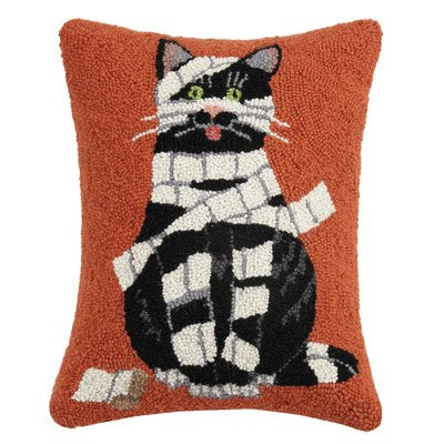 Mummy Cat Pillow - Hooked Halloween Pillows