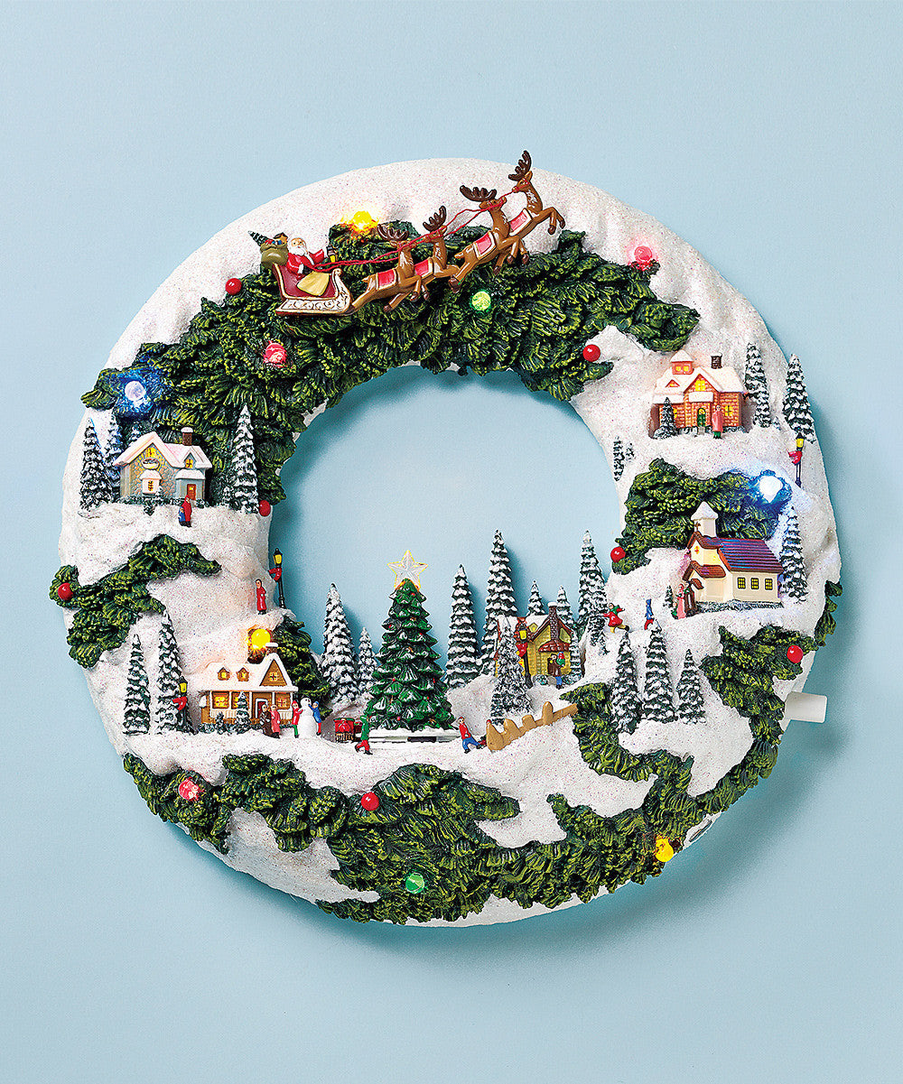 Musical Christmas Wreath Village Scene - Music Box
