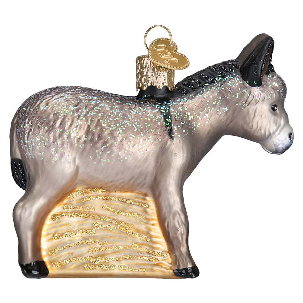 Glass Donkey Nativity Christmas Ornaments