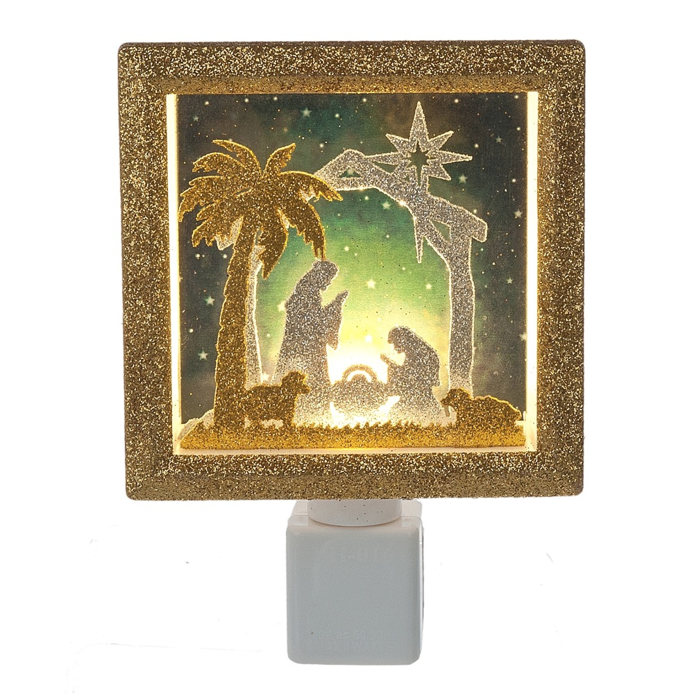 Nativity Shadow Box Night Light with Gold & Silver Glitter