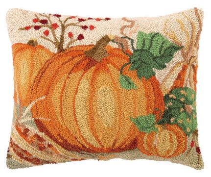 Thanksgiving & Harvest Pillow Hand Hooked with Pumpkins & Corn