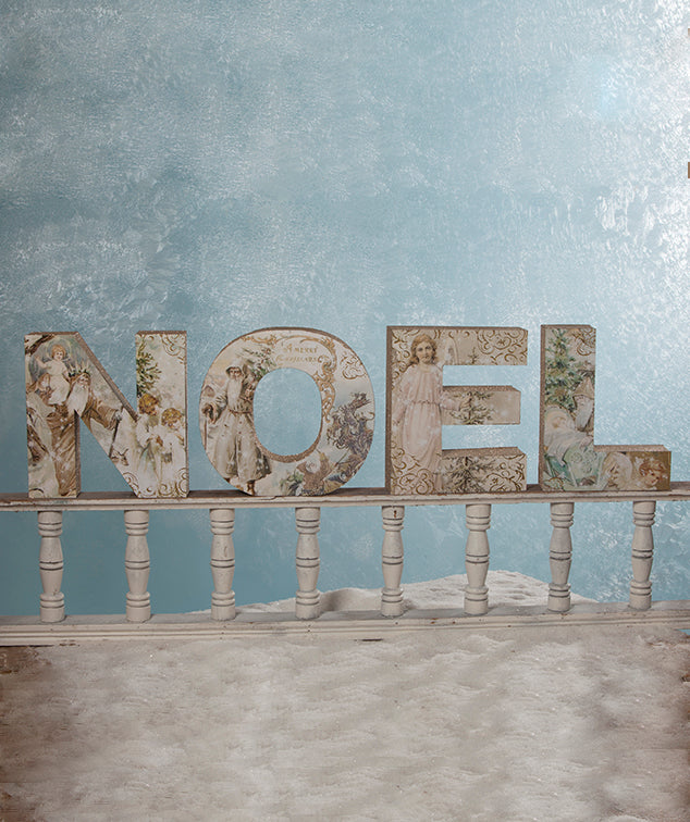 Noel Letter Sign with Pastel Vintage Christmas Images
