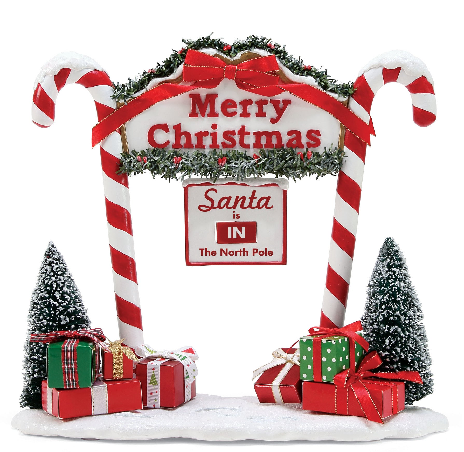 North Pole Candy Cane Entrance with Santa is In or Out Sign