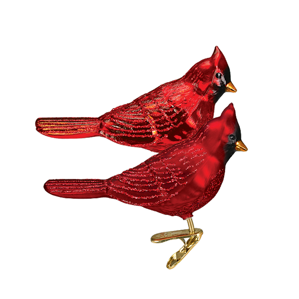Northern Red Cardinal Glass Ornament Clips